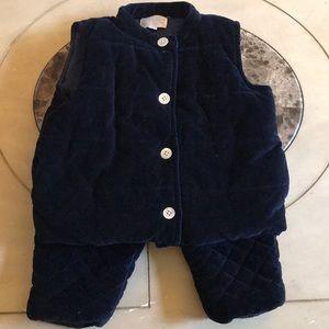 Blue Baby CZ quilt vest pant suit set L XL 18-24mo